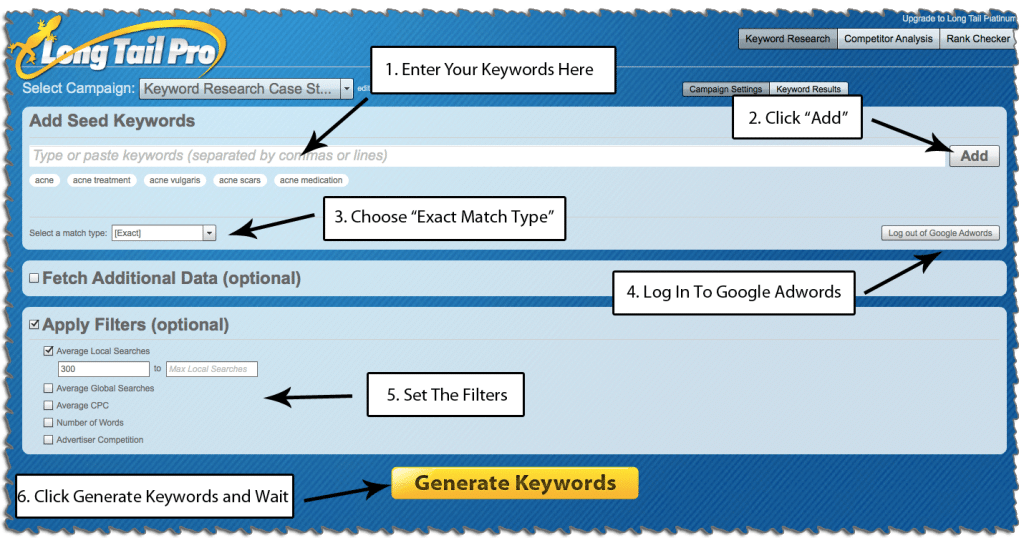 Using LTP to Generate List of Potential Keywords