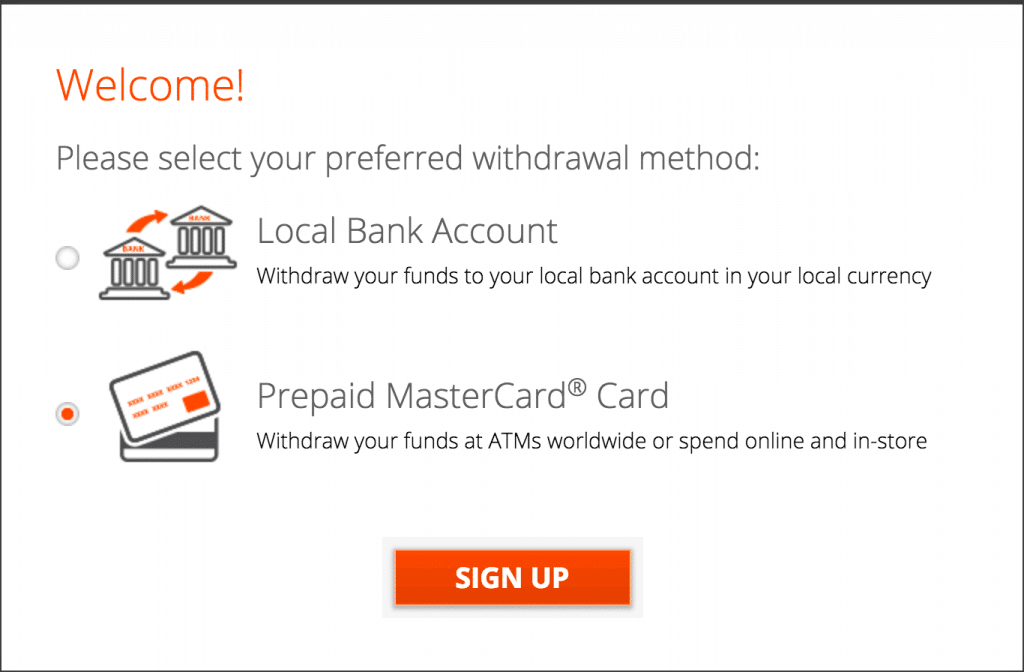 sign up for a prepaid card
