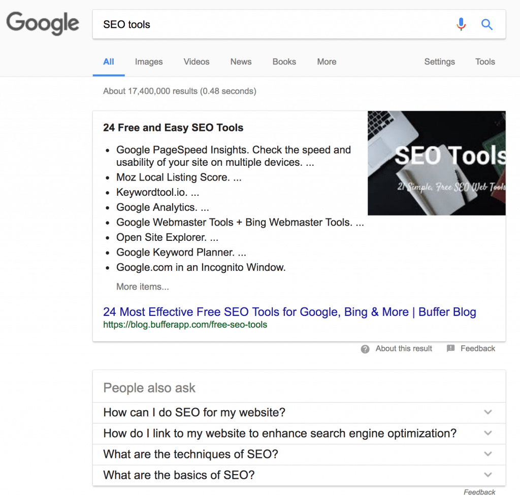 Picture of GOogle SERP