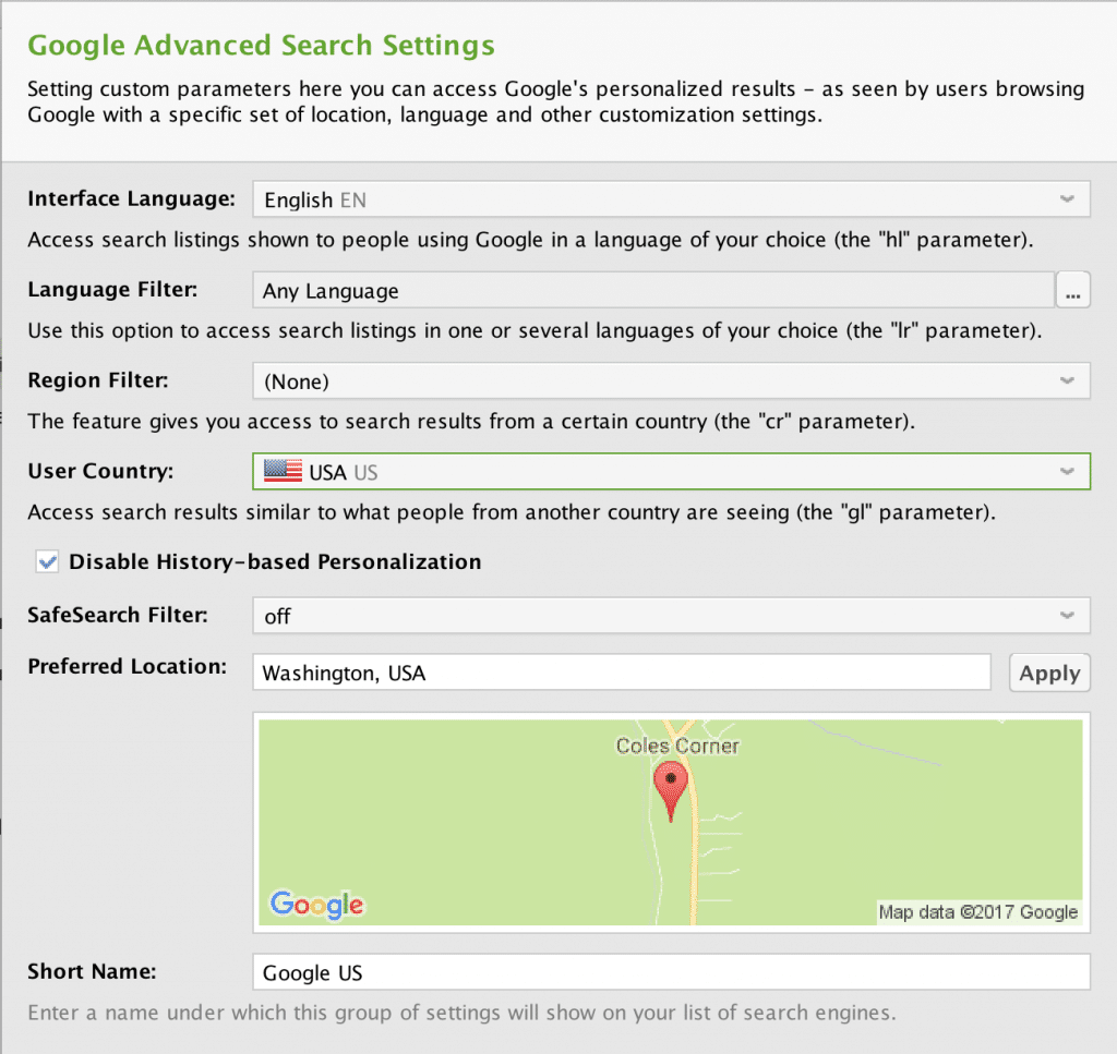 Google Advanced Search Settings